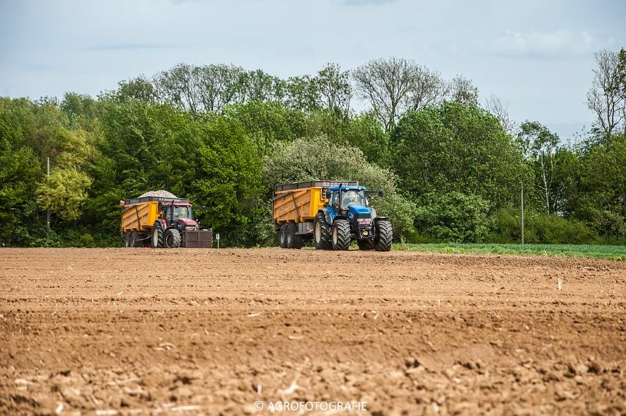 New Holland T8.390 + Grimme GF800 en GL860 & New Holland T8050 + Amazone Centaur 6001 (Koolen, 09-05-2015) (9)
