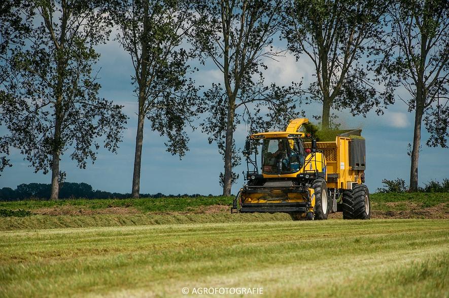 New Holland FR 9050 bunkerhakselaar (Grashakselen, grasdrogerij Ruinerwold, 09-09-2015) (18 van 54)