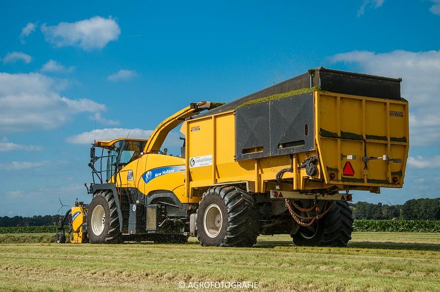 New Holland FR 9050 bunkerhakselaar (Grashakselen, grasdrogerij Ruinerwold, 09-09-2015) (32 van 54)